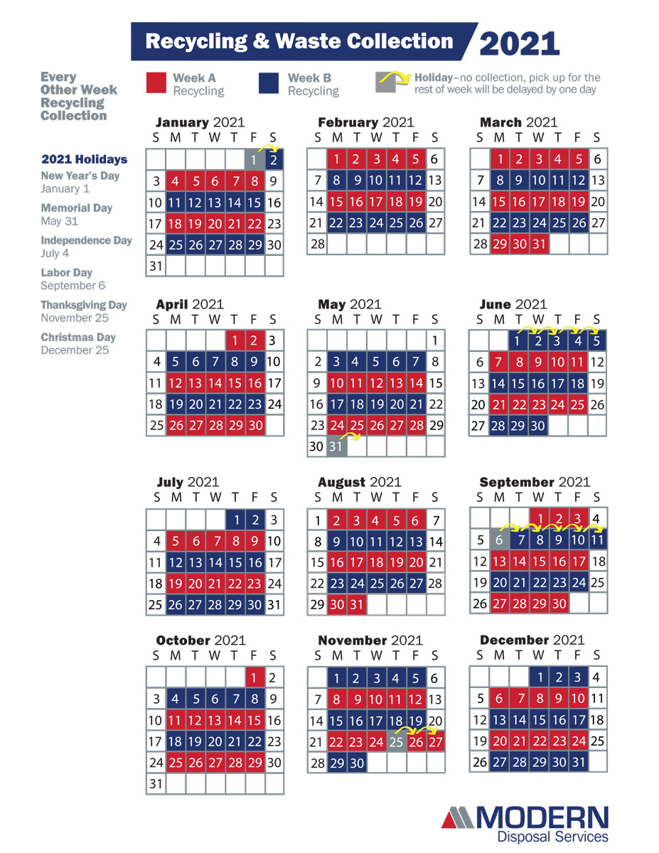 Trash Pickup Schedule Christmas 2021 Wny Recycling Garbage Collection Schedule Modern Disposal Services